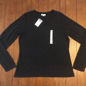 Black Croft & Barrow V-Neck Soft Sweater NWT